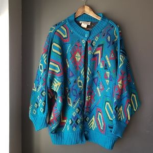 Vintage Geometric 80s Oversized Batwing Sweater